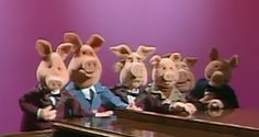 Pigs have held various roles in Muppet productions. They've appeared as ancillary characters such as dancers and singers on The Muppet Show, and have also taken on major roles.  Sesame Street has maintained its own set of pigs over the years. The series initially used a variation of the Hot Pink AM pattern (still retained for certain characters), and later introduced a group of four-legged, semi-realistic pigs, who could be used as farmyard oinkers or in speaking roles, as the need demanded.