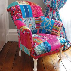 Patchwork chair..paint the walls brightly..fun!