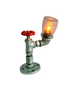 Industrial Iron Pipe Table Lamp with Glass Shade  $94.95