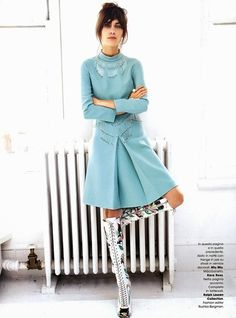 Alexa Chung for Glamour Italia April 2014 - {to wear, lengthen the skirt and pair with e.g. tan boots and socks in winter}