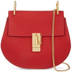 Chloe Drew small leather cross-body bag ($1,185) ❤ liked on Polyvore featuring bags, handbags, shoulder bags, leather crossbody, leather cross body handbags, red leather purse, evening handbags and leather shoulder bag