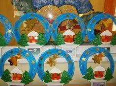 Paysage hivernal :assiette en carton + papier canson