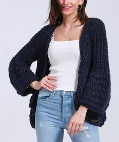 Simply Couture Navy Chunky Open Cardigan - Women & Plus | Zulily