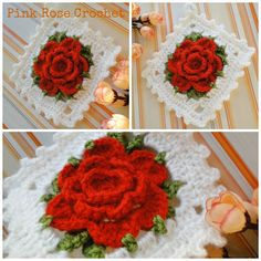 PINK ROSE CROCHET: Handle Red Flower Pots in Square