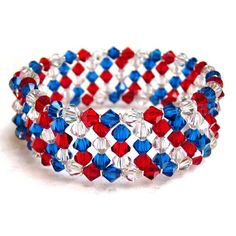 Sparkle as much as a Fourth of July firework with this stunning Patriotic Crystal Memory Wire Bracelet. Beautiful in red, white, and blue, this DIY bracelet is both pretty and practical. Dazzle those around you with this cool crystal bracelet! Memory Wire Jewelry, Memory Wire Bracelets, Crystal Bracelets, Cuff Bracelets, Beaded Bracelet Patterns, Beaded Jewelry, Bead Patterns, Handmade Jewelry, Embroidery Bracelets