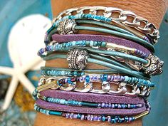 Multi strand endless wrap bracelet....One of a Kind   Ocean Teal and mystical lilac suede very soft Napa leather, high quality miyuki beads, chunky silver chain have been combined to make this 3x wrap bracelet