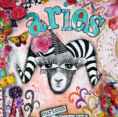 Aries art print, Aries collage, Zodiac art, March birthday gift, April birthday gift, mixed media collage art, pink and turquoise. by ThisRosyLife on Etsy