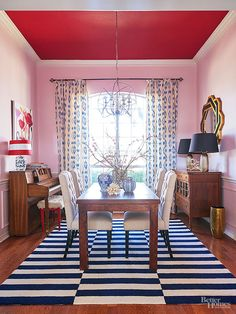 Think of a painted ceiling as the icing on the cake -- a bedazzling flourish that takes a room from pleasing to downright sensational. Think of a painted c Decor, Interior Color Schemes, Red Ceiling, Room Furnishing, Interior, Colored Ceiling, Ceiling Color Design, Pink Dining Rooms, Colorful Interiors