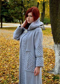"""Купить Длинное вязаное пальто""""Арвен"""" - серый, серебристый стальной, длинное вязаное пальто"""
