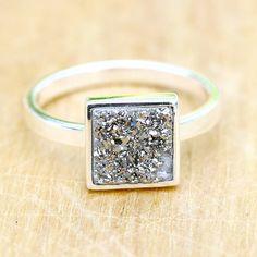 Gorgeous,square quartz ring,druzy ring are bezel set in 925 sterling silver…