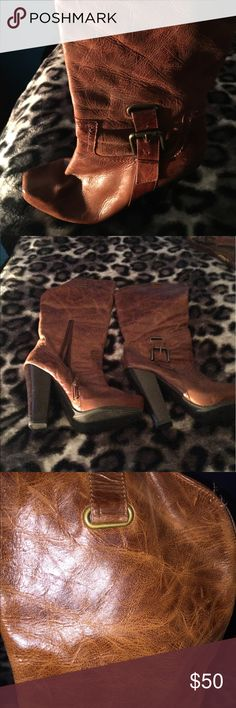 Jessica Simpson boots Saddle leather brown high heel cowboy boots Jessica Simpson Shoes
