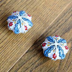 2 SZTUK 48mm Ręcznie malowane Kraju Liść Kwiat ceramiczne dyni gałki szafka szuflady uchwyty ciągnie Meble drzwi gałki Porcelanowe(China (Mainland))