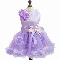 High Quality Pet Dog Rose Princess Dress Clothes Bowknot Party Skirts Pink  Purple M Purple