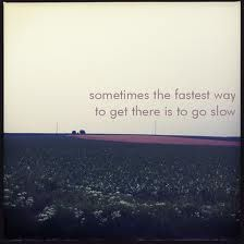 Sometimes the fastest way to get there is to go slow. - Tina Dickow