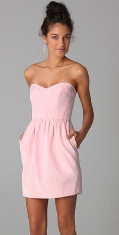 """Classic sweetheart strapless dress in """"ballerina"""". Has a sweetheart neckline and on-seam pockets! Source by dresses Summer Outfits, Cute Outfits, Summer Dresses, Pink Dresses, Summer Clothes, Looks Style, My Style, Beach Wear, Look Chic"""