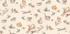 Quentin's Menagerie (W6063/04) - Osborne & Little Wallpapers - Farmyard frolics by Quentin Blake - irresistibly playful dogs bound through cats, chickens, ducks, mice and frogs on a creamy beige background. Additional colourways & co-ordinating fabric also available. Please request sample for true colour match.