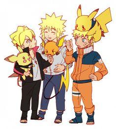 Minato & Raichu, Naruto & Pikachu and Boruto & Pichu Naruto Minato, Naruto Uzumaki Shippuden, Anime Naruto, Naruto Cute, Naruto Gaiden, Anime Ninja, Kakashi Hatake, Otaku Anime, Pokemon Crossover