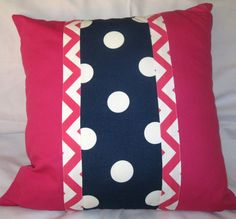 Navy blue polkadot center stripe pink white zigzag Canvas pillow cover 24 X 24