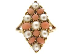 For Sale at The Antique Jewellery Company - Victorian Gold Coral & Natural Split Pearl Marquise Ring Victorian Jewelry, Antique Jewelry, Vintage Jewelry, Victorian Era, Pendant Set, Pearl Pendant, Coral Jewelry, Gemstone Jewelry, Marquise Ring