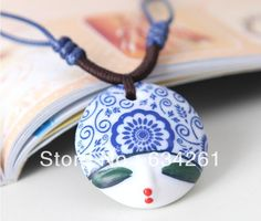 Painted Porcelain Ceramic Necklaces & Pendants ,polymer clay charms Pendant Ethnic Jewelry ,ceramics ornaments For women