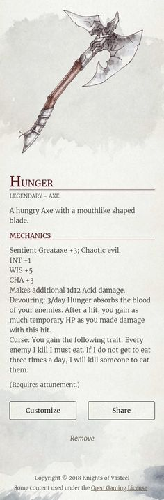 stats great ax / axe blood eating weapon chaotic evil sentient weapon DnD Note: Home hub Sure, home is where in actuality the heart is. Dnd Dragons, Dungeons And Dragons 5e, Dungeons And Dragons Homebrew, Dark Fantasy, Fantasy Art, Dungeon Master's Guide, Dnd Funny, Dnd 5e Homebrew, Dnd Monsters
