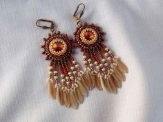 Bead embroidery earring Seed bead jewelry Cream Brown  by Vicus, $30.00
