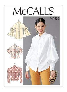 McCall's Misses' Tops pattern. Multi-size pattern available in two size combinations. Loose-fitting button front tops with back yoke and length and sleeve variations. Shaped hemline and button cuff options. Clothing Patterns, Dress Patterns, Sewing Sleeves, Mccalls Sewing Patterns, Shirt Sewing Patterns, Shirt Patterns For Women, Modern Sewing Patterns, Vest Pattern, Fashion Sewing