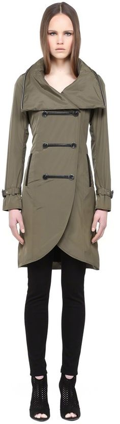 $390, Olive Trenchcoat: Mackage Liana S5 Khaki Double Breasted Trench Coat With Hood. Sold by Mackage. Click for more info: http://lookastic.com/women/shop_items/195444/redirect