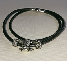 Pandora-style leather wrap charm bracelet skull and crossbones charms by BohoBoutiquex on Etsy