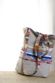Bolsas de verano con lino y algodón patchwork inspirado vintage
