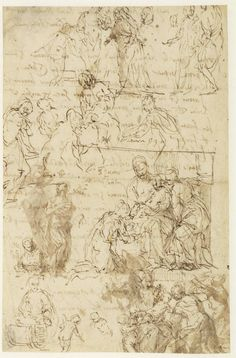 Paolo Veronese (Paolo Caliari), 1528-1588, Italian, Studies for The Mystic Marriage of Saint Catherine and The Holy Family with Saints Anne, John the Baptist and Catherine.    Pen and brown, brown wash: 19.9 x 30.6 cm.  Museum Boijmans Van Beuningen, Rotterdam. Mannerism.