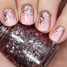 """China Glaze """"I Pink I Can"""" has pale and rosy pink glitter in a clear base.  A reverse glitter gradient over Ghina Glaze """"Pink Of Me""""."""
