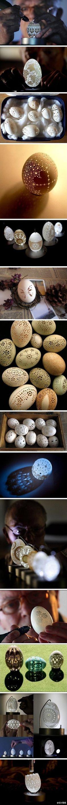 最脆弱的艺术,一组精美的蛋雕作品。
