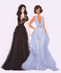 "punziella: ""I don't think I'll ever finish this so Imma just post it now (they're both wearing Zuhair Murad) """