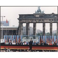 Photograph of President Reagan giving a speech at the Berlin Wall, Brandenburg Gate, Federal Republic of Germany