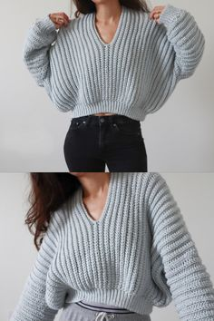 Believe it or not, this sweater is crochet! Design meets cozy in this super slouchy, cropped sweater. If you've got lots of worsted weight yarn to use up, grab a copy of this pattern and make one for yourself! Pull Crochet, Mode Crochet, Chunky Crochet, Basic Crochet Stitches, Crochet Basics, Knit Crochet, Sweater Knitting Patterns, Crochet Patterns, Crochet Pullover Pattern