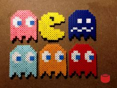 Pacman Magnets and Keychains made from Perler Beads by DJbits