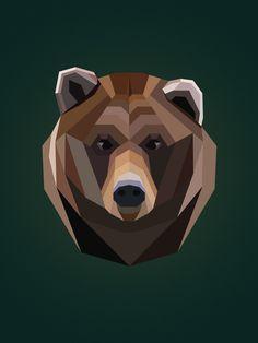 Geometric Grizzly Bear illustration: Shop Jill Slattery Print Co. #poster #art