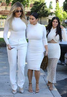 Kourtney, Kim and Khloe Kardashian wear super tight all white outfits #dailymail