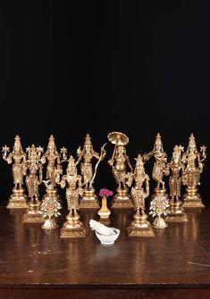 Check out the deal on SOLD Bronze Vishnu Dasavatar Set of 10 Statues at Hindu Gods & Buddha Statues Arte Krishna, Krishna Statue, Hindu Statues, Buddha Statues, Brass Statues, Silver Pooja Items, Pooja Mandir, Pooja Room Door Design, Lakshmi Images