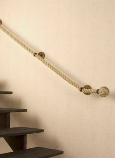 Staircase railing made of rope. Maybe another material but this idea is differen… Staircase railing made of rope. Maybe another material but this idea is different. Rope Railing, Stair Handrail, Staircase Railings, Staircases, Staircase Ideas, Modern Interior Design, Interior Design Living Room, How To Make Rope, House Stairs