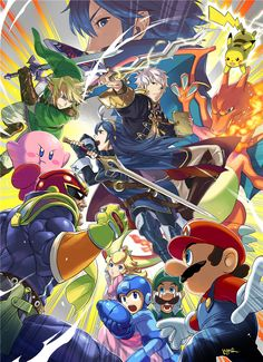 Custom Game Super Smash Bros 4 SSB4 Wii U 3DS Classic Wallpapers Home Decor Poster(20x30Inc) Wall Sticker Free Ship PN-148