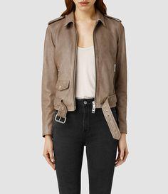 Women's Albion Leather Biker Jacket (PALE) -