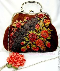 Wonderful Ribbon Embroidery Flowers by Hand Ideas. Enchanting Ribbon Embroidery Flowers by Hand Ideas. Embroidery Bags, Silk Ribbon Embroidery, Hand Embroidery Patterns, Embroidery Designs, Organza Ribbon, Silk Organza, Machine Embroidery, Felt Purse, Flower Bag