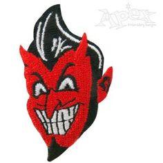"""Retro Devil Embroidery Design. Size: 2.24"""" x 1.34"""""""
