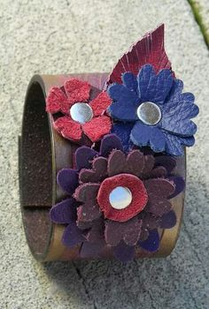 2014 fall design by 1 OAK Up. Upcycled leather floral cuff.
