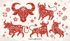 Chinese new year papercut bull set #AD , #year, #Chinese, #bull, #set, #papercut Chinese New Year Calendar, Chinese New Year Poster, Chinese New Year 2020, New Years Poster, Chinese New Year Decorations, New Year Art, New Year Illustration, Ipad Art, Calendar Design