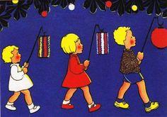 Sint Maarten Lampionnenoptocht Children's Book Illustration, Book Illustrations, Children's Picture Books, Paintings I Love, Paper Lanterns, Vintage Children, Childrens Books, Holland, Street Art