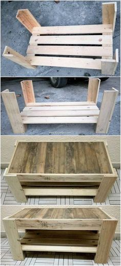 Incredible DIY Projects from Recycled Wood Pallets: Do you have wood pallet furniture in your house? Did you ever get the feeling impression that this wood pallet is giving you out the feel. Wood Pallet Tables, Wooden Pallet Projects, Wooden Pallet Furniture, Wooden Pallets, Wooden Diy, Pallet Ideas, Diy Wood, Rustic Wood, Pallet Couch