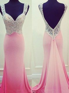 pink prom dress,long prom dress,mermaid prom dress,open back prom dress,evening…